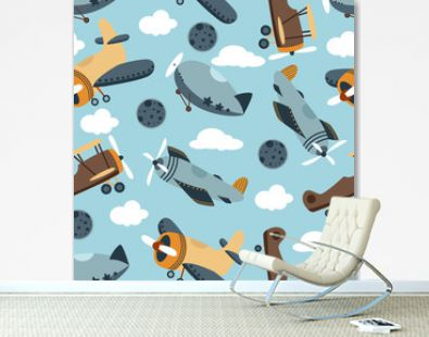 seamless pattern with airplane in the sky - vector illustration, eps