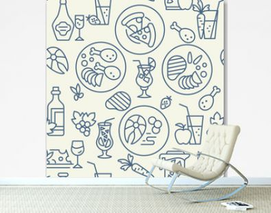 Food and drinks icons pattern. Restaurant food seamless background. Seamless pattern vector illustration