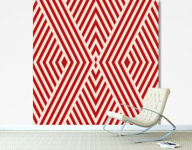 Vector geometric lines seamless pattern. Stylish texture with stripes, thin diagonal lines, tapes, chevron, rhombuses. Abstract red and beige graphic design. Simple background. Modern repeat design