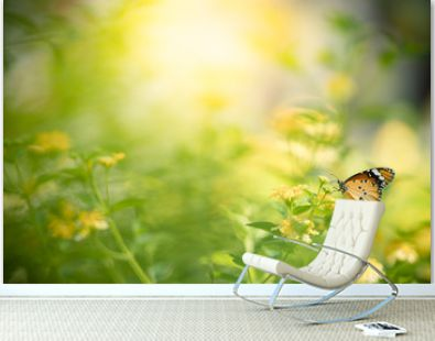 Beautiful nature view of butterfly on blurred background in garden with copy space using as background natural landscape, ecology, fresh wallpaper  concept.