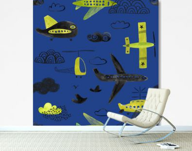 Seamless Pattern With Flying Airplanes and Helicopters