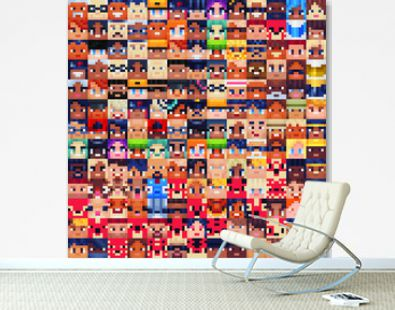Cute faces seamless pattern for pixel art style game,different characters, fabric textures, print for clothes. Isolated vector illustration. Design for stickers, logo, web, mobile app.