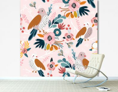 Seamless pattern with cute birds, flowers, berries and leaves. Creative floral texture. Great for fabric, textile Vector Illustration