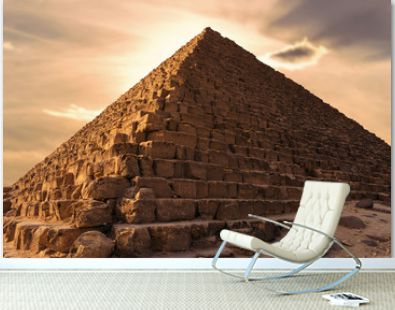 Famous great Giza Pyramids in sand desert in Cairo.