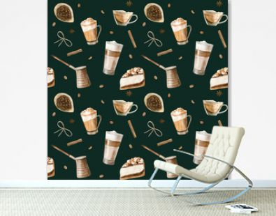 Watercolor seamless pattern with illustrations of coffee cup, coffee beans, coffee grinder, cappuccino, latte and desserts