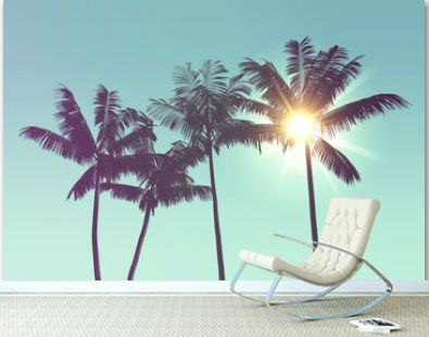 Tropical palm tree silhouette against bright sunlight. 3d rendering
