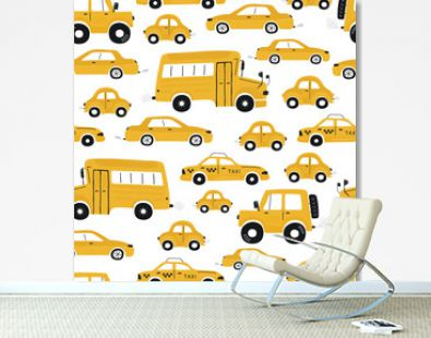Cute children's seamless pattern with yellow cars and bus on a white background. Illustration of a town in a cartoon style for Wallpaper, fabric, and textile design. Vector
