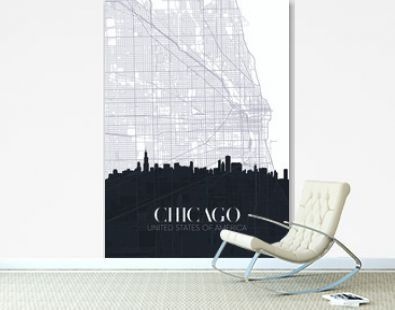 Skyline and city map of Chicago, detailed urban plan vector print poster