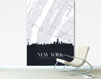Skyline and city map of New York, detailed urban plan vector print poster