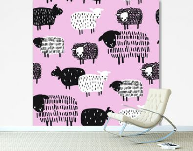 Black and white sheep seamless pattern on pink background. Silhouettes of animals .Texture, wallpaper. Print for textiles, decoration