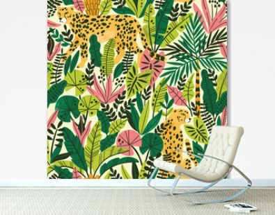 Cheetah with palm leaves exotic seamless pattern. Summer paradise in tropical jungles with wild animals, and fantastic florals.