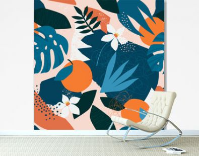 Collage contemporary floral seamless pattern. Modern exotic jungle fruits and plants illustration in vector