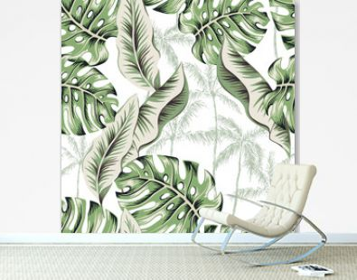 Green monstera, banana leaves, palm trees silhouettes, white background. Vector floral seamless pattern. Tropical illustration. Exotic plants. Summer beach design. Paradise nature