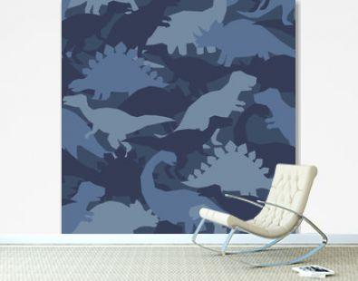 Dinosaur army print. Camouflage seamless pattern with dino in blue colors. Perfect fashion texture fo childish fabrics and wallpapers.