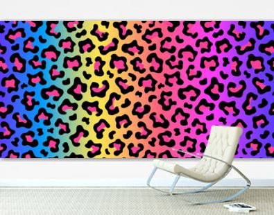 Neon rainbow colored leopard print seamless pattern. Gradient background. Vector wallpaper.