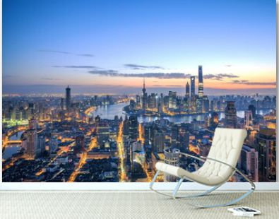 High angle shot of the buildings and skyscrapers captured in the beautiful city of Shanghai
