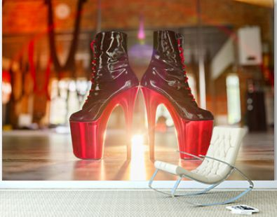 Pole dance shoes with high heels and high platform, black leather with red platform.