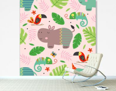 seamless pattern with cute jungle animals  -  vector illustration, eps