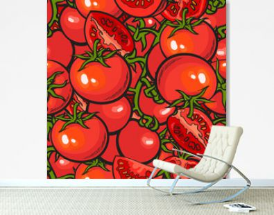 Tomato seamless repeatable pattern or background texture vector illustration.