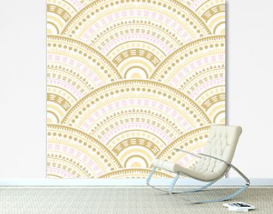 Ethnic circle shapes seamless geometric pattern.