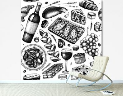 Traditional french food seamless pattern. With hand-drawn wine, meat dishes, desserts, and snacks sketches. Food and drinks from France backdrop.