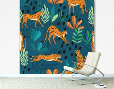 Seamless pattern with hand drawn exotic big cat cheetahs, with tropical plants and abstract elements on dark green background. Colorful flat vector illustration