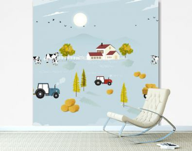 Autumn seamless pattern farm fields, house, cow, tractor pine tree and straw bales in the countryside,Vector illustration cute seamless for fall season for wrapping paper, textile, fabric