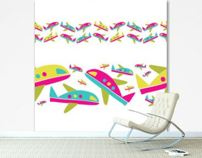 Vector seamless pattern design of colorful lines of airplanes on white