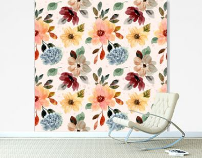 autumn fall floral watercolor seamless pattern