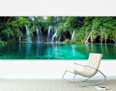 Waterfalls with clear water in Plitvice National Park, Croatia