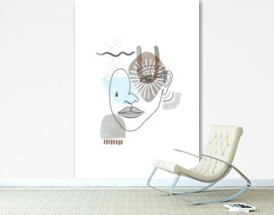 Face Line Art, Abstract Boho Shapes. Woman Line Drawing. Modern female poster. Neutral gray pastel colors.