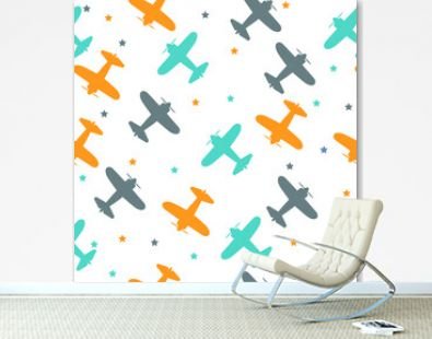 Kids seamless pattern with airplanes colorful.White background. Baby pattern.