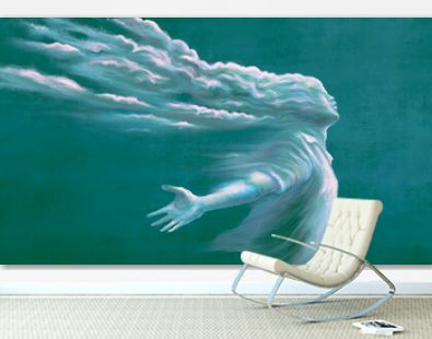 Freedom of expression and hope concept, surreal art of man with cloud head , imagination artwork, conceptual painting