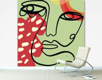 Contemporary minimalism one line face with abstract geometric colorful shapes . Decor Printable Art, Abstract Art Prints, House Warming Gift. Cubism face.