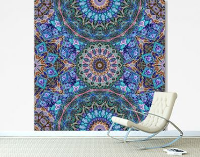 Seamless ornament with mandala and stylized flower in ethnic style. Wallpaper,  print for fabric, carpet.