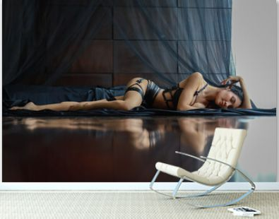Portrait of beautiful asian sexy girl lay down on floor in bedroom, woman beauty fashion people model concept.