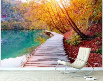 Famous Plitvice lakes with beautiful autumn colors and magnificent views of the waterfalls, Plitvice national park