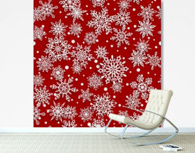 Christmas seamless pattern of paper snowflakes with soft shadows on red background