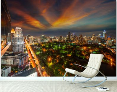 View point from roof top bar in hotel of Bangkok city