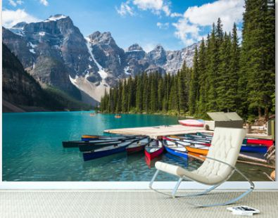 Moraine Lake during summer in Banff National Park, Alberta, Canada.