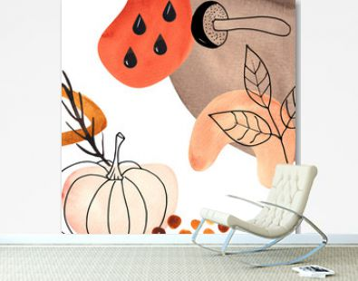 Botanical Line and Abstract Art  template with black silhouettes of plants and pitchers and bright autumn abstract spots
