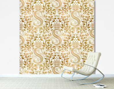 Golden white vintage seamless pattern. Gold royal classic baroque wallpaper. Antique background ornament.