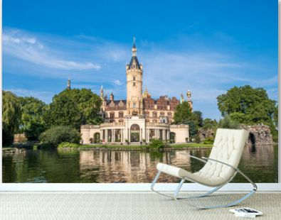 A beautiful fairy-tale castle in Schwerin, the view from the lake
