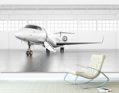 Private business jet parked at white empty luminous maintenance hangar and ready for take off. Luxury tourism and business travel transportation concept. White airplane with golden elements. 3d render