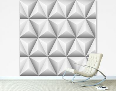 Modern Triangles and Pyramids white geometric background. Seamless white 3d pattern. Geometric hexagons, diamonds and triangles texture.