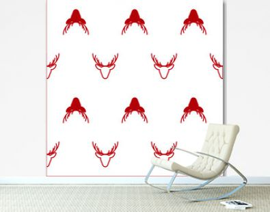 Red and white seamless reindeer pattern