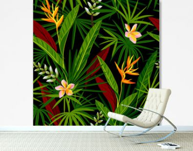 Jungle seamless pattern with tropical leaves and flowers. Realistic vegetation vector background.