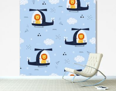 Seamless pattern Cartoon background with a lion driving a helicopter floating in the sky Hand drawn design in kid style, use for print, wallpaper, fabric, textile fashion. Vector illustration