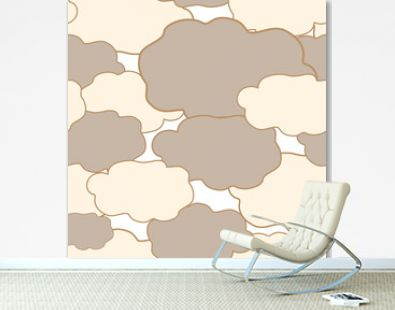 Vector seamless design illustration pattern of clouds in pastel colors
