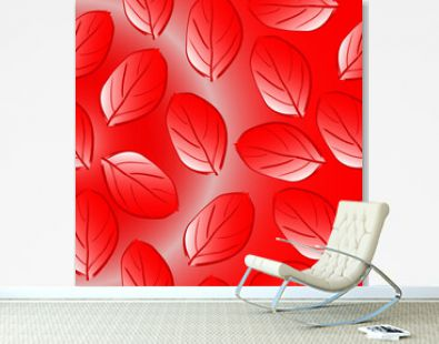Seamless pattern of red autumn abstract falling leaves on a red background for textile.